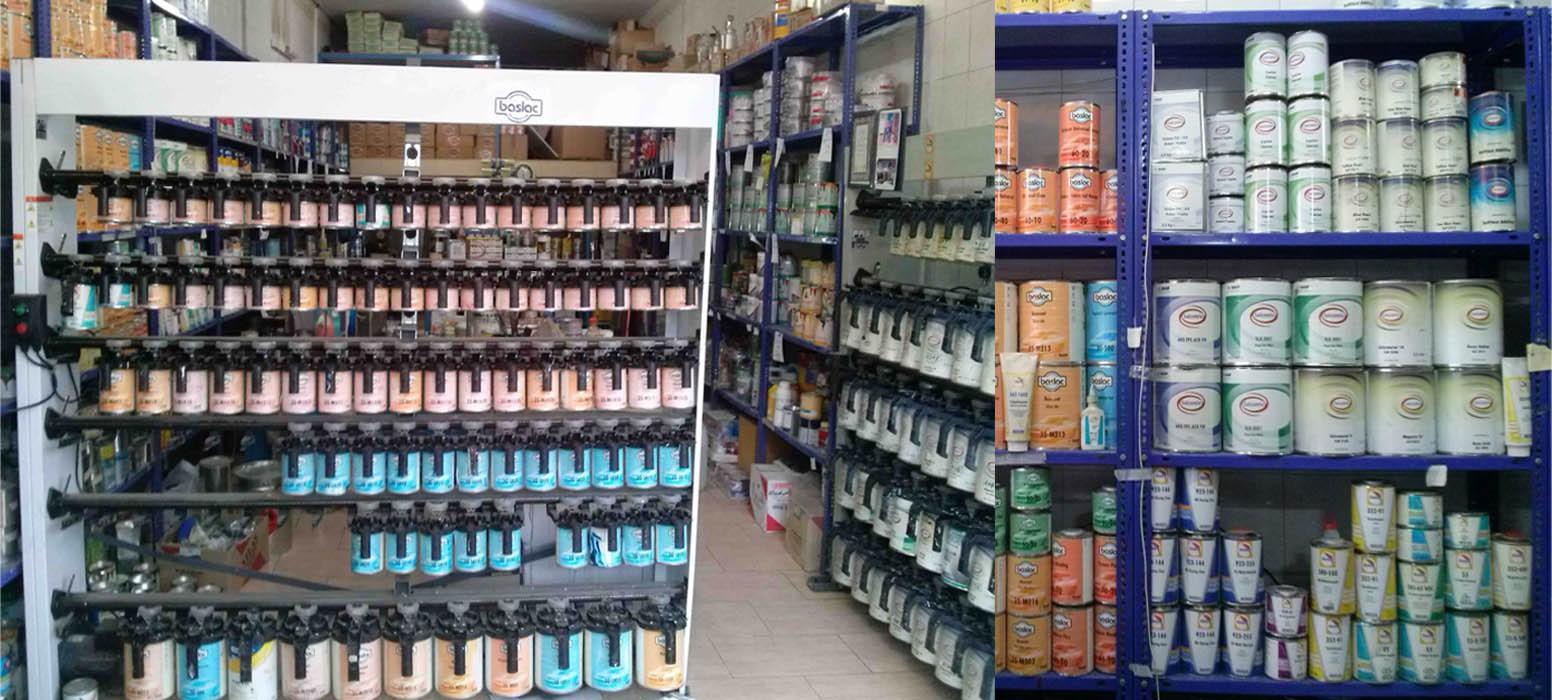 دستگاه ترکیب رنگ Baslac , Salcomix آلمان به همراه محصولات موجود در محل فروشگاه